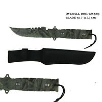 Hunting Knife CAMO 15.5cm Blade Sheath Camping Tactical Bowie Army Outdoor Pig