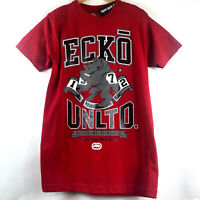 Ecko Unltd Mens Red Graphic T-Shirt Big Rhino Logo Print Spell Out Size Medium