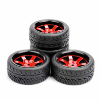 4PCS Rubber Tires & Wheel 12mm Hex RC For HSP HPI 1:10 Scale On-Road Street Car