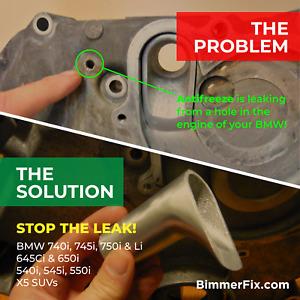 BMW 745i, 645i, 545i, X5, Engine Water Coolant Pipe Tube Leak Repair! $239.00!!