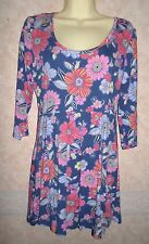 TU BLUE FLORAL VISCOSE TUNIC WITH STRETCH SIZE 14