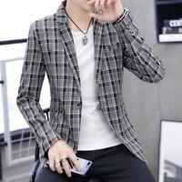 Men Casual Coats Spring Slim Fit Grid Youth Korean Lapel Blazer Jackets Outwear