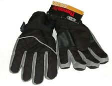 Mens Black & Grey Thermolite Ski Gloves, Fleece Lined. Size XL.