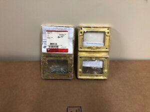 Lot of (2) Wiremold Walker Legrand 827T flange 2-gang brass tile flange