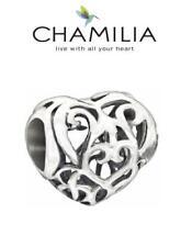 Genuine CHAMILIA 925 sterling silver FILIGREE HEART charm bead, love romance