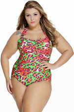 Plus Size Green & Orange Leopard Print One Piece Halter Neck Swimsuit Size 14