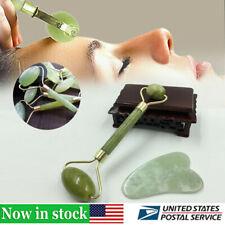 Face Roller Facial Gua Thin+Body Set Jade Guasha Home Massager Tool Sha Board