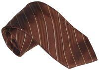 $275 NEW BRIONI COPPER BROWN BLACK & WHITE FANCY DIAGONAL STRIPES SILK TIE