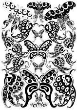 BUTTERFLY wall stickers 22 big Black & White patterned decals teen dorm decor