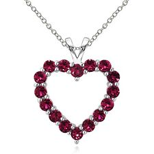 925 Sterling Silver 2.25 Ct Created Ruby Open Heart Necklace