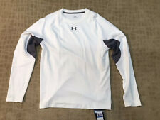 UNDER ARMOUR COLDGEAR FITTED TRAINING SHIRT WHITE/GRAY SZ XL NWT