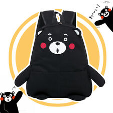 Japanese Kumamon Cute Black Bear Embroidery Shoulders Bag Backpack School Big