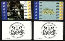 1994 Bhutan Stamp Cards - Set Of Two Card Stamps -  Total 12 Stamps