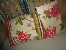 CROSCILL RHAPSODY PINK GREEN FLORAL STRIPE OBLONG RECTANGULAR PILLOW & FABRIC