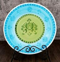 """Williams - Sonoma Blue & Green Hand-painted Stencil 11"""" Stoneware Dinner Plate"""