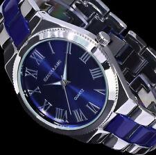 Excellanc Uhr Damenuhr Armbanduhr Blau SIlber Farben Flaches Design SI-D4