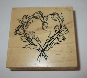 Tulip Wreath Rubber Stamp Flowers Spring PSX Wood Mounted USA Made