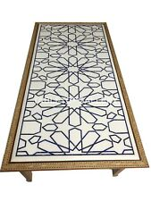 """2.5'x5' Marble Dining Table Top With 29"""" Wooden Stand Random Inlay Decors W022"""