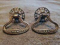 ANTIQUE PAIR OF ORNATE BRASS DRAWER/CABINET/FURNITURE BACK PLATES & PULLS