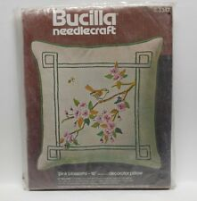 "Bucilla Needlecraft #3347 ""Pink Blossom"" 16"" Pillow Kit, NOS"