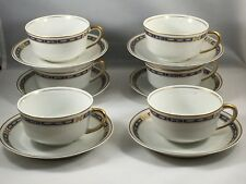 """Syracuse China """"Mistic Blue"""" Demitasse 6 Cups and 6 Saucers"""