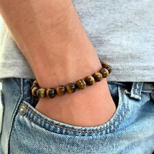 Tigers Eye GemStone Beaded Bracelet Stretch Men Handmade Fashion Brown Wristband