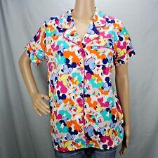 Mickey Mouse Ladies Medium Pajama Top Disney Luxe Collection Short Sleeve