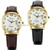 Fashion Men's Date Calendar Leather Roman Numerals Quartz Analog Wrist Watch