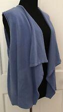 Chicos Cornflower Blue Sleeveless Cardigan Open Sweater SZ 2 SZ M Stretchy Shrug