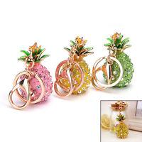 Pineapple Crystal Rhinestone Keyring Charm Pendant Bag Key Ring Chain Keychain..