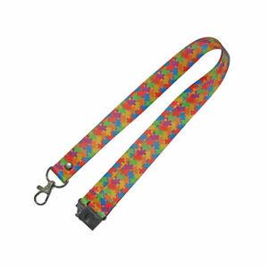 Autism Awareness Jigsaw Lanyard - neck strap, ID HOLDER Safety breakaway clip