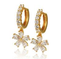 Luxus Ohrringe Creole Hänger Zirkonia weiß 999er Gold 24 Karat vergoldet