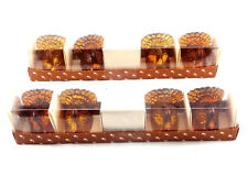 Williams Sonoma 8 Amber Glass Turkey Candle Holders Fall Taper Thanksgiving New