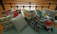 Handmade 16x16 Cushion Cover with Orla Kiely Fabric Stem, Sweet Pea, Oval Flower