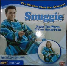 Snuggie Blanket with Sleeves- Blue Plaid - As Seen On TV - One Size - NEW.