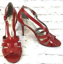 WORTHINGTON Women Shoe 8 M Red Patent Strappy Open Toe Mary Jane High Heels