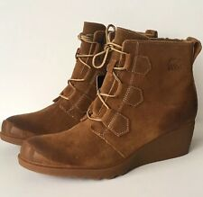 09f14b97b55e Sorel Women s Toronto Lace up Suede Wedge Heel Winter BOOTS BOOTIES Elk  Size 11