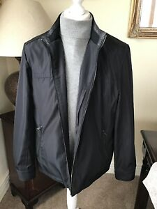Calvin Klein Leather Polyester Large Black Coat/Jacket - Beautiful Condition