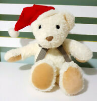 Coral Colours White Christmas Teddy Bear Plush Toy Brown Plaid Bow 32cm Tall!