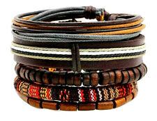 bracciale uomo pelle in legno cuoio bracciali con pietre dure marrone corda set