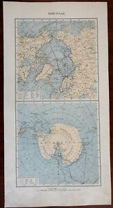 North & South Pole w/ Polar Exploration Routes 1936 large Italian map