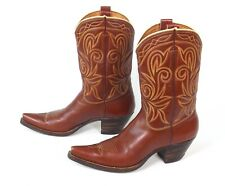 Classic Brown Cowboy Boots - Size 7B - Pee Wee Beautiful Stitching
