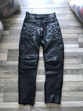 Dannisport Black Motorcycle Biker Leather  Trousers Size 16 Waist 32