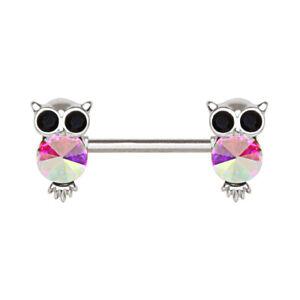 Aurora Owl Nipple Bar Barbell 1.6mm x 14mm