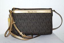 MICHAEL KORS Handtasche Neu 295€ Jet Set Travel Messenger Bag brown gold Tasche