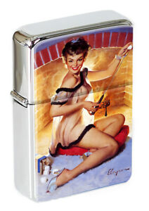 Warm Welcome Pin-up Girl Flip Top Lighter