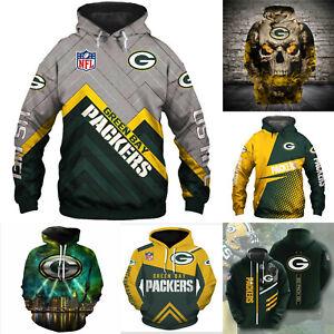 Green Bay Packers Hoodie Sweatshirt Men's Casual Pullover Jacket Coat Tops M-5XL