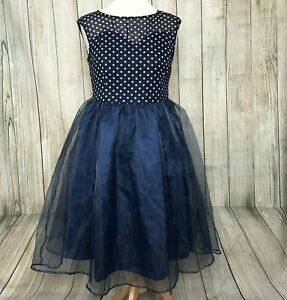 NEW - Stunning Navy Spotted LINDY BOP Fit Flare 1950 Prom Party Dress UK Size 12