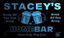 p655-b Stacey's Personalized Home Bar Beer Family Name Neon Light Sign