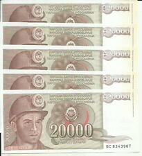 YUGOSLAVIA LOT 5x 20000 DINARA 1987  P 95. UNC CONDITION. 4RW 09MAR